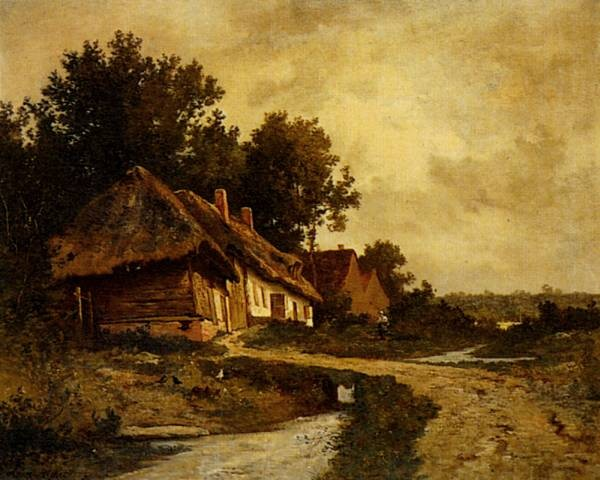 Cottages By A Stream